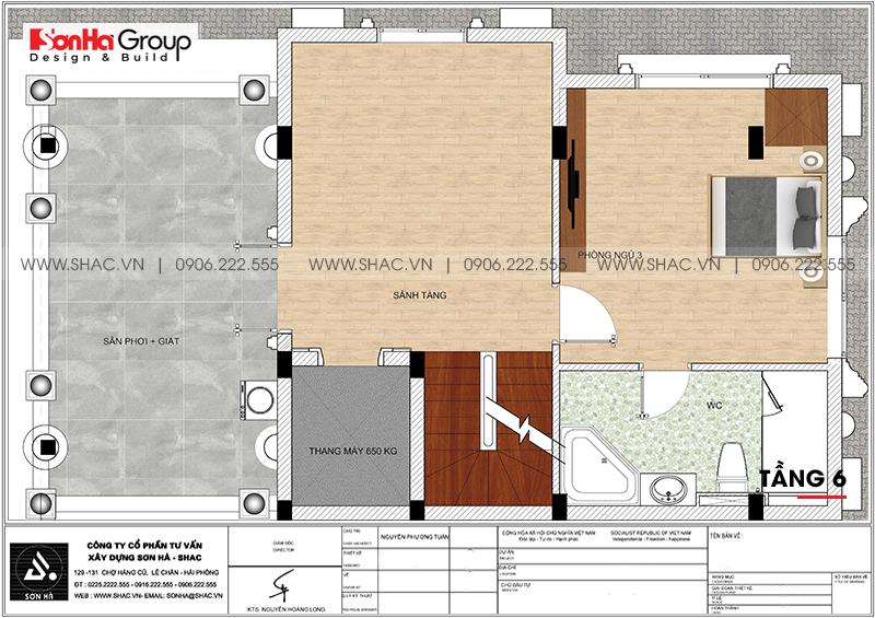 Thiết kế tòa nhà văn phòng tân cổ điển 6,8x11m tại Hà Nội - SH VP 0038 9