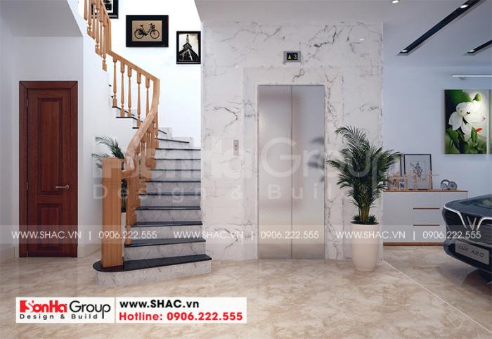 Thiết kế nội thất sảnh thang kết hợp vật liệu gỗ và gạch ốp lát