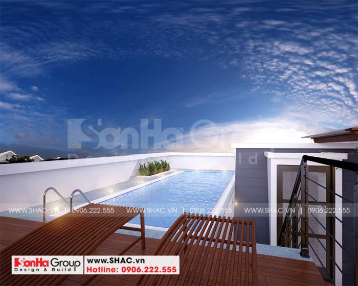 Bể bơi trên tầng mái của biệt thự Vinhomes Imperia 3 tầng sang trọng