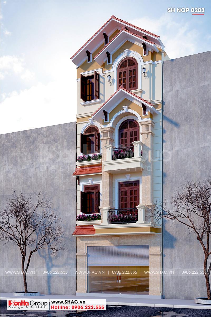 Mặt tiền 5m nhà phố tân cổ điển được trang trí đường nét hài hòa