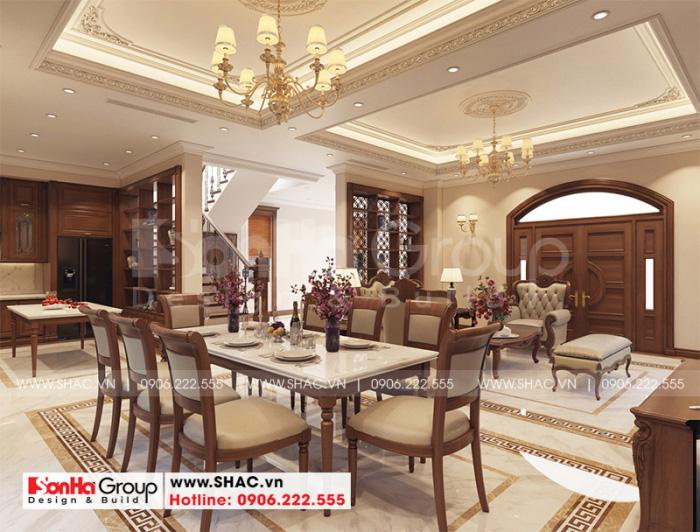 Mẫu phòng bếp ăn đẹp bố trí liền phòng khách sử dụng đồ nội thất gỗ