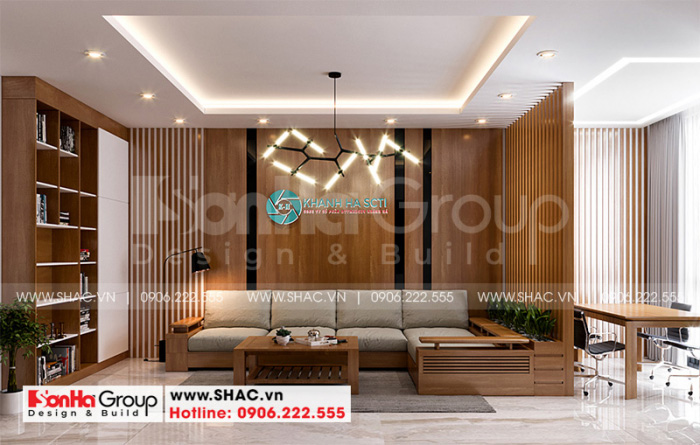 Mẫu thiết kế phòng khách đẹp hiện đại với đồ nội thất gỗ tinh tế
