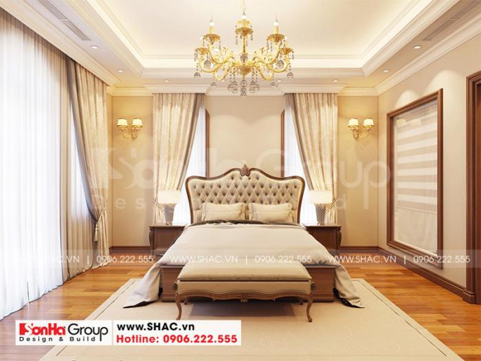 Không gian nội thất phòng ngủ master sang trọng đẳng cấp của biệt thự đẹp