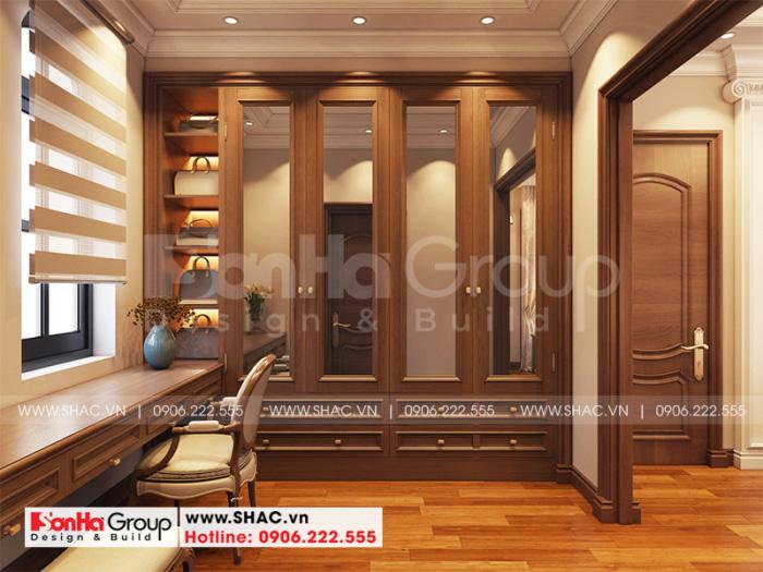 Khu vực thay đồ trong không gian nội thất phòng ngủ master kiểu cổ điển