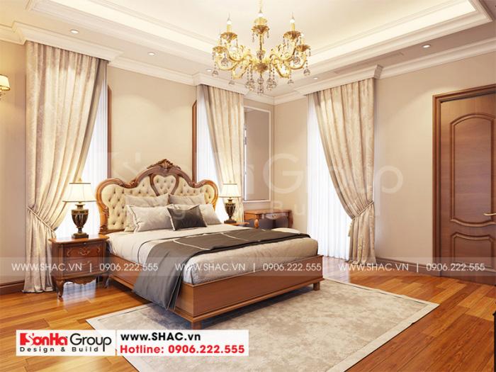 Mẫu thiết kế phòng ngủ đẹp phong cách tân cổ điển sử dụng sàn gỗ công nghiệp