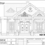 7 Bản vẽ mặt đứng trục a d biệt thự mái thái tân cổ điển tại hải phòng sh btp 0148