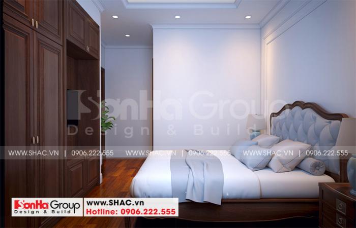 Không gian nội thất phòng ngủ giúp việc được cố trí gọn gàng ngăn nắp
