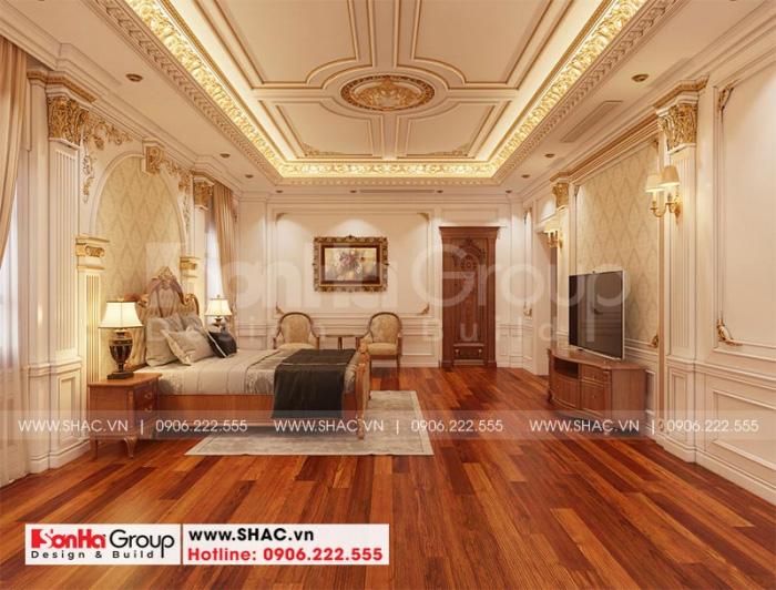 Mẫu phòng ngủ biệt thự xa hoa với nội thất gỗ tự nhiên