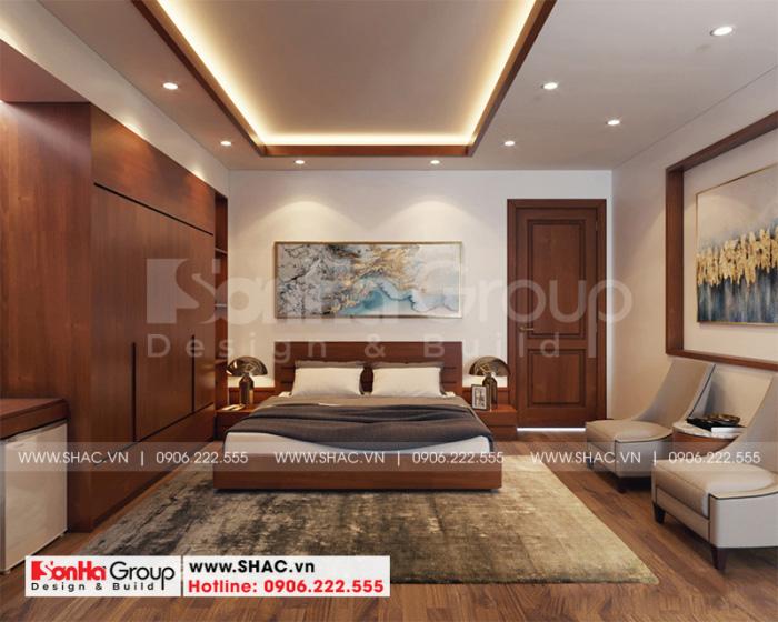 Thiết kế nội thất phòng ngủ master thoáng đẹp với đồ nội thất gỗ