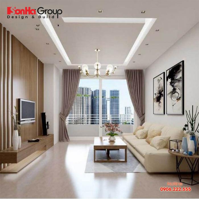 Bạn nên sử dụng tông màu trắng làm màu sơn tường chủ đạo hoặc lắp đặt các món đồ nội thất màu trắng như sofa, tủ kệ, bàn trà