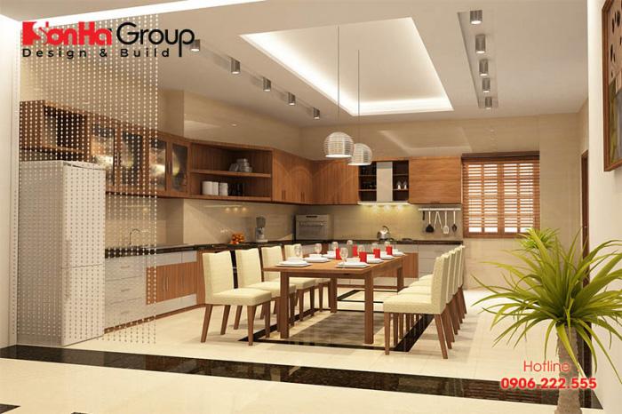Cách bố trí phòng ăn hiện đại kiểu dáng đơn giản bằng gỗ và các thiết bị cao cấp dành cho nhà phố