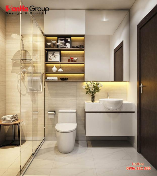 Cách sắp xếp phòng tắm và vệ sinh liền kề vừa tiện nghi lại hợp phong thủy trên diện tích sàn chỉ 5m2