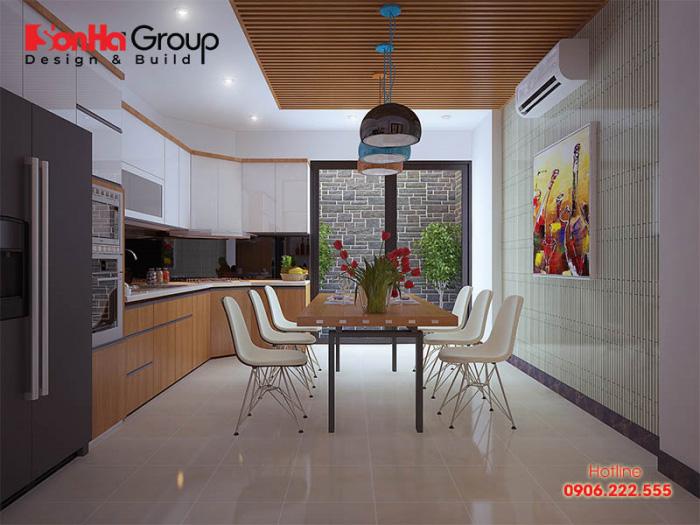 Căn phòng bếp đẹp cho nhà phố với kiểu dáng đơn giản, hiện đại mà vô cùng tiện nghi