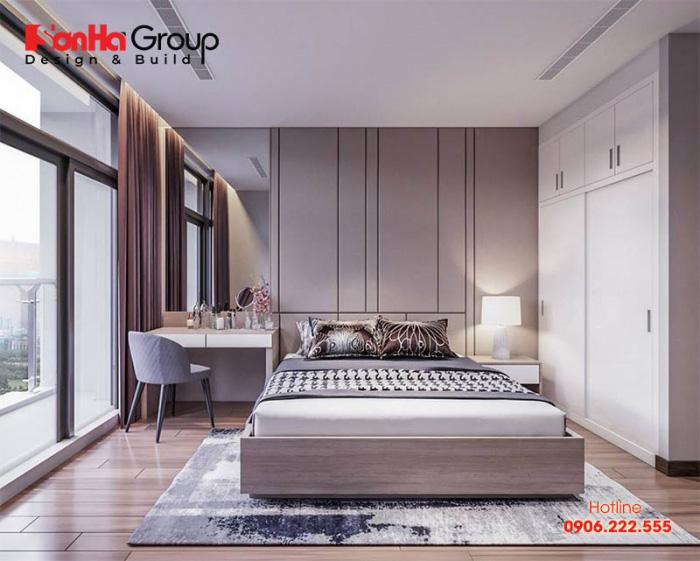 Căn phòng ngủ có thiết kế nội thất đơn giản mà độc đáo mang phong cách hiện đại mới lạ