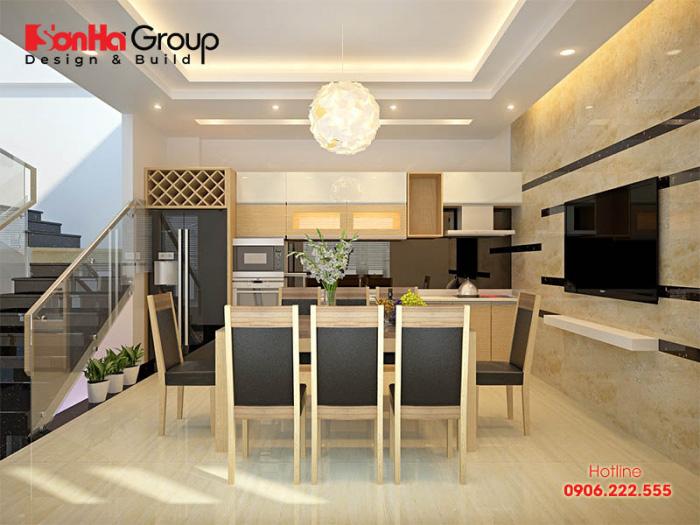Chất liệu gỗ công nghiệp được KTS Sơn Hà ưu tiên sử dụng trong không gian phòng bếp ăn cao cấp với tuổi thọ, độ bền cao nhất