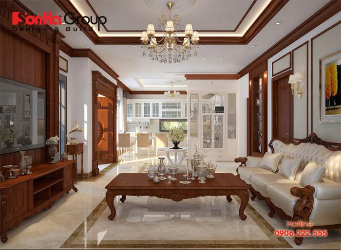 Giải pháp thiết kế nội thất phòng khách và bếp ăn tân cổ điển đẹp liền kề với không gian thoáng đãng nhất