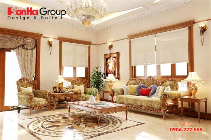 Khám phá không gian nội thất phòng khách đẹp, sang trọng với gam màu vàng ánh kim chủ đạo