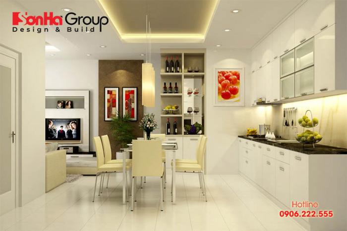 Không gian ẩm thực với thiết kế nội thất hiện đại và tinh tế, tủ bếp và bàn ghế ăn xinh xắn phù hợp với diện tích và thuận tiện cho người sử dụng