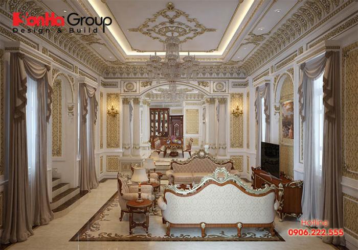Không gian phòng khách liền phòng ăn sang trọng, ấm cúng cho biệt thự phong cách cổ điển