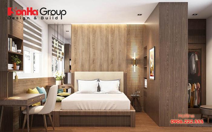 Không gian phòng ngủ phong cách hiện đại tiện nghi và đẹp mắt với cách sắp xếp, bày trí ấm cúng