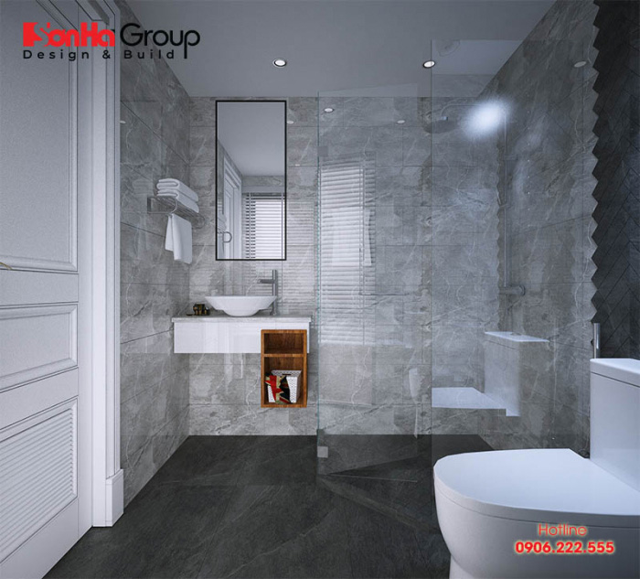 Không gian phòng tắm-wc khép kín đơn giản dành cho phòng ngủ nhà ống với thiết kế nội thất hiện đại cao cấp