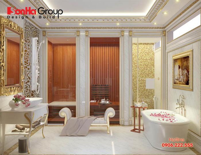 Mẫu phòng tắm đứng và bồn tắm, vệ sinh trang bị tiện nghi trong công trình biệt thự lâu đài được chủ nhân đánh giá cao