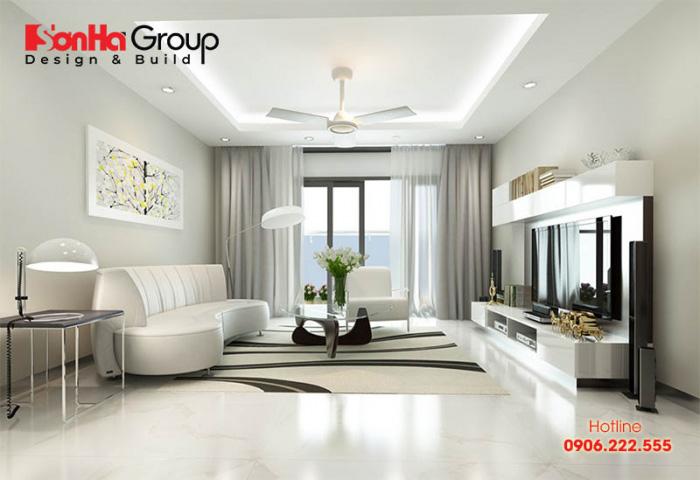 Màu sơn trắng kem tạo cho phòng khách vẻ dịu dàng, phù hợp với những văn phòng hiện đại, trẻ trung