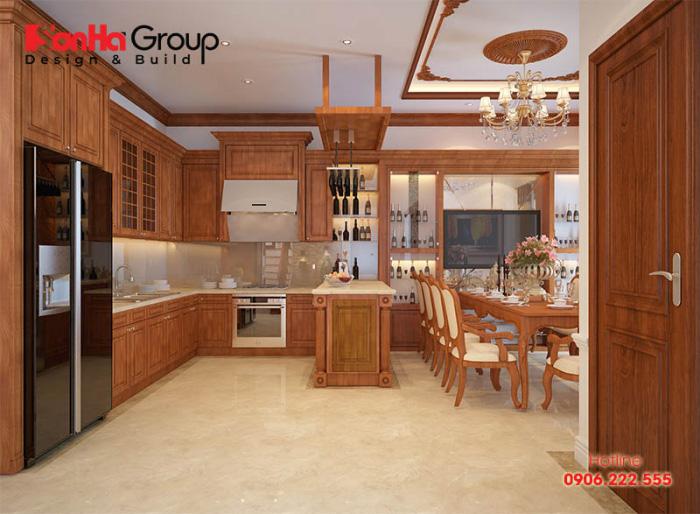 Mẫu thiết kế nội thất phòng bếp ăn cổ điển với giải pháp bố trí công năng khoa học và tiện nghi