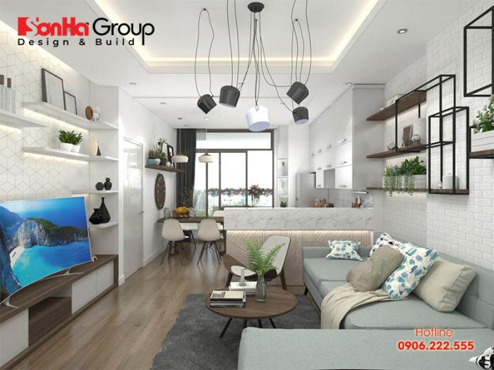 Mẫu thiết kế nội thất phòng khách liền kề bếp đẹp dành cho căn hộ chung cư có diện tích nhỏ, khiêm tốn