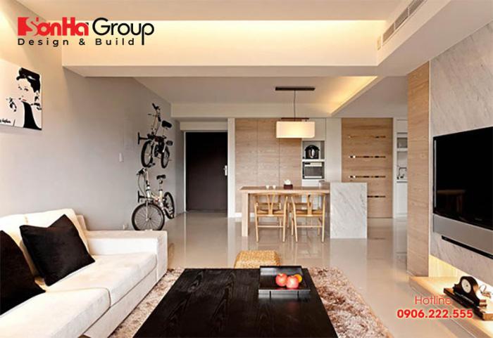 Mẫu thiết kế phòng khách liền bếp nhà ống thoáng đãng và đẹp nhất năm