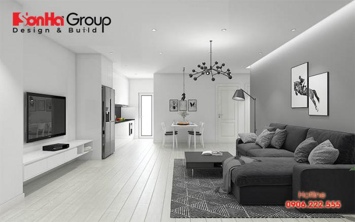 Màu xám ngọc trai được đông đảo chủ đầu tư yêu thích lựa chọn cho không gian phòng khách ngôi nhà của mình