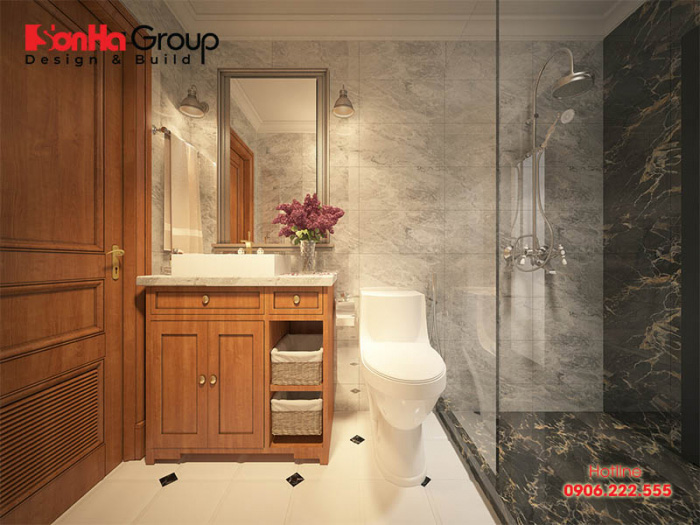 Nội thất phòng tắm hiện đại đẳng cấp được làm nên từ vật liệu trang trí cao cấp, bố trí phong thủy trong căn phòng ngủ