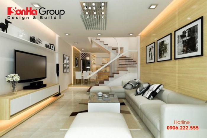 Phòng khách nhà ống có cầu thang đẹp mang lại vượng khí cho ngôi nhà của bạn