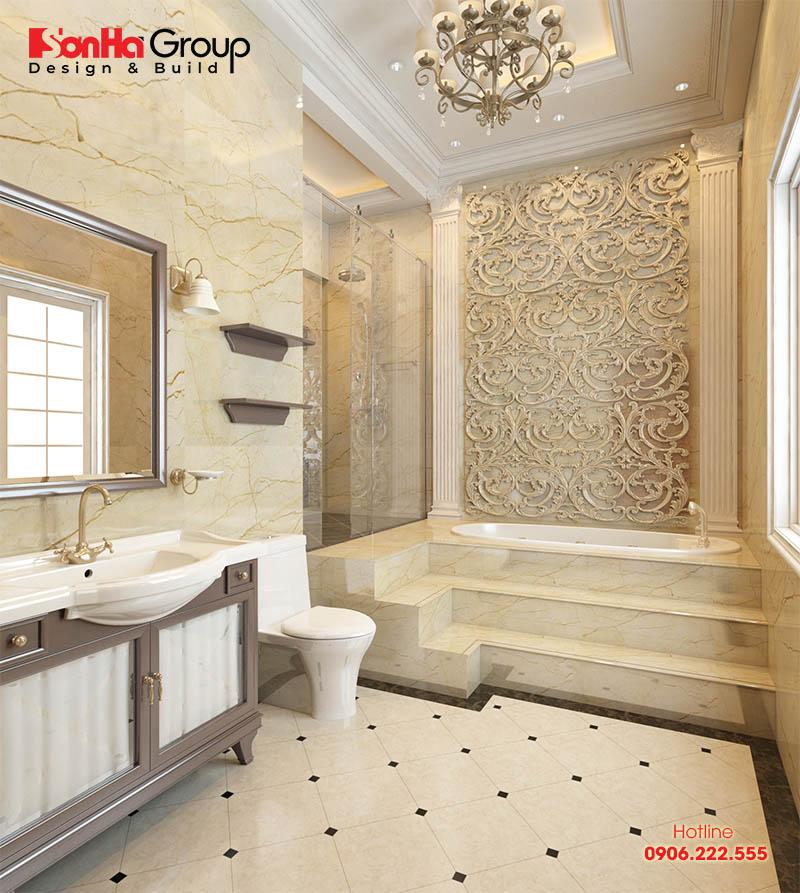 Phòng tắm, vệ sinh biệt thự mang phong cách cổ điển vương giả có đầy đủ vật dụng sinh hoạt, ánh sáng thông thoáng nhất