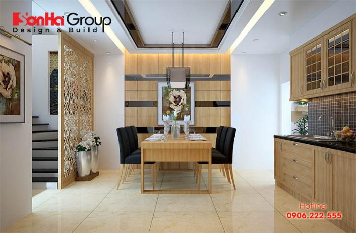 Phương án thiết kế không gian bếp đẹp cho nhà ống với chất liệu gỗ