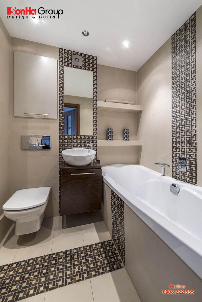 Phương án thiết kế nội thất phòng tắm hiện đại và vệ sinh ngăn nắp dành cho nhà ống