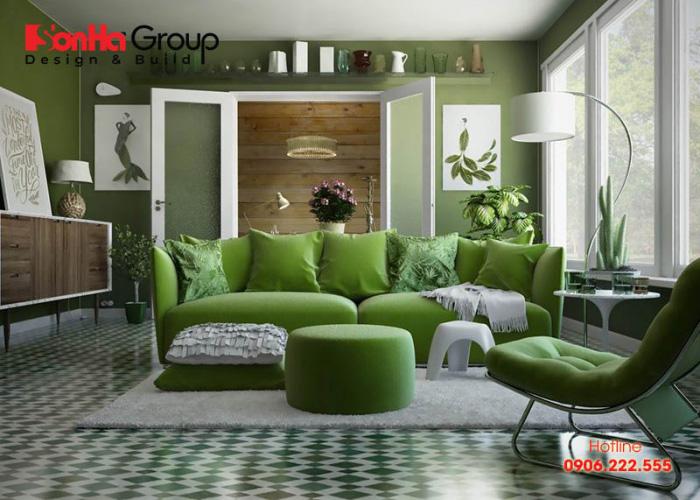Phương án thiết kế phòng khách màu xanh lá cây điển hình xu hướng mới