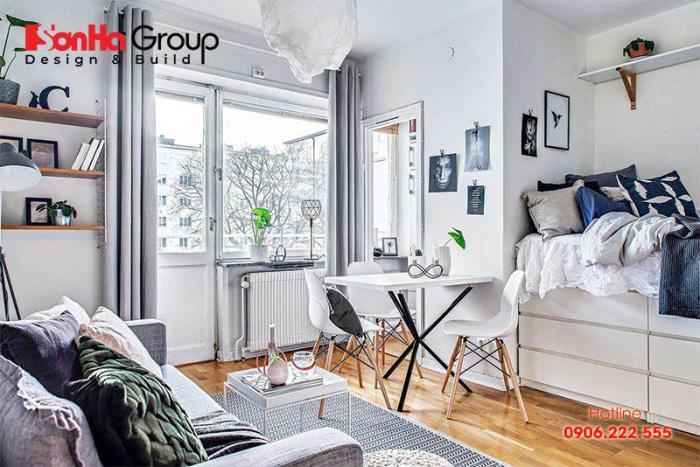 Sử dụng đồ nội thất tiện dụng cho cả phòng khách và phòng ngủ là giải pháp được đông đảo chủ đầu tư lựa chọn
