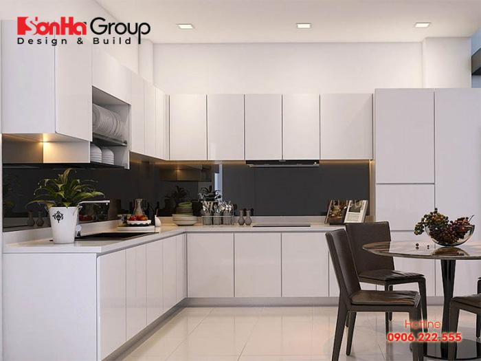 Sự giản đơn ngăn nắp của phòng bếp nhà ống hiện đại được chủ nhân rất thích thú với kinh phí thi công siêu tiết kiệm