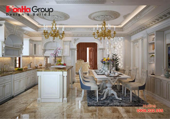 Sự tiện nghi và vương giả của nội thất phòng bếp ăn tân cổ điển này chắc chắn bạn sẽ không thể bỏ lỡ cho ngôi nhà của bạn