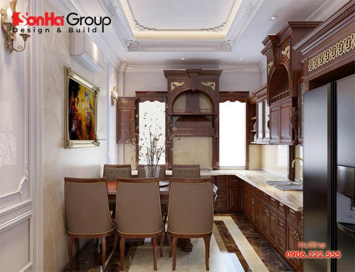 Thêm một ý tưởng trang trí phòng bếp ăn với nội thất cao cấp mang hơi hướng tân cổ điển đẹp
