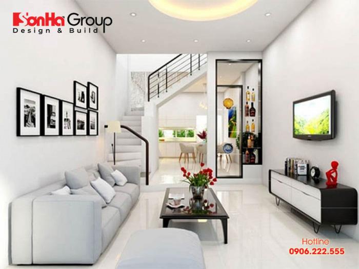 Thiết kế nội thất nhà ống đẹp với bố trí phòng khách liên thông bếp