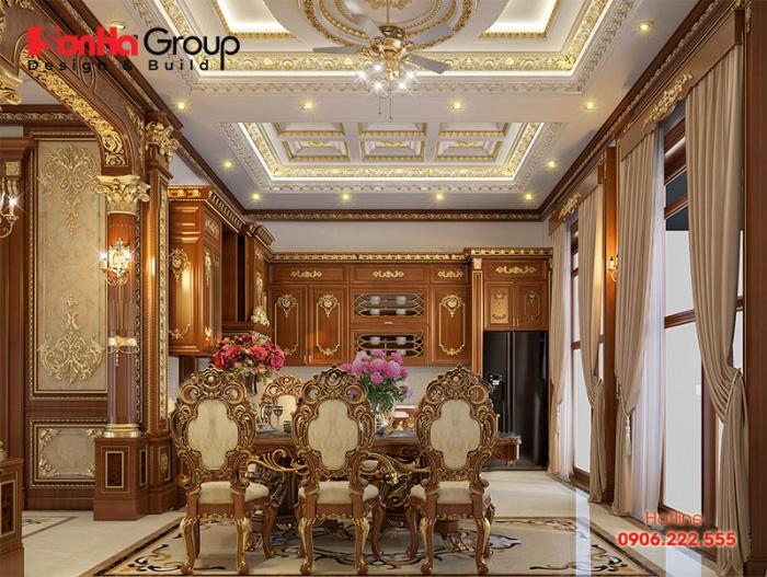 Thiết kế nội thất phòng ăn phong cách cổ điển sang trọng tiện nghi với nội thất gỗ đẹp mắt