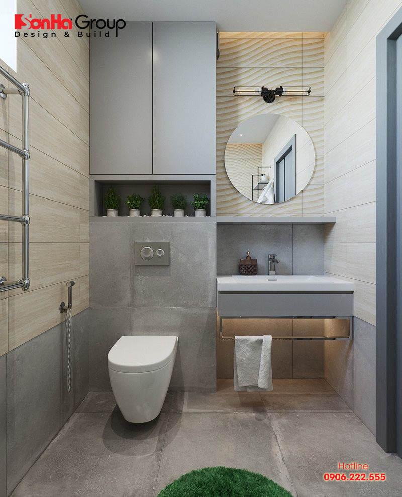 Thiết kế nội thất phòng tắm và vệ sinh đẹp có diện tích sử dụng 4m2 đẹp và phong thủy