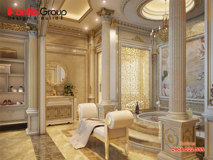 Thiết kế nội thất phòng tắm WC với thiết bị vệ sinh cao cấp dành cho công trình biệt thự cổ điển vương giả
