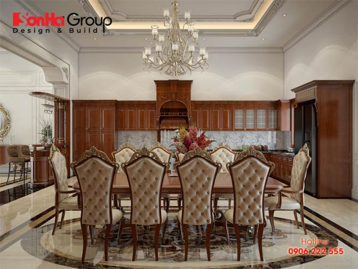 Thiết kế phòng ăn đẹp và cao cấp với hơi hướng cổ điển mãn nhãn tạo nên dấu ấn riêng của gia chủ với độ tiện nghi cao