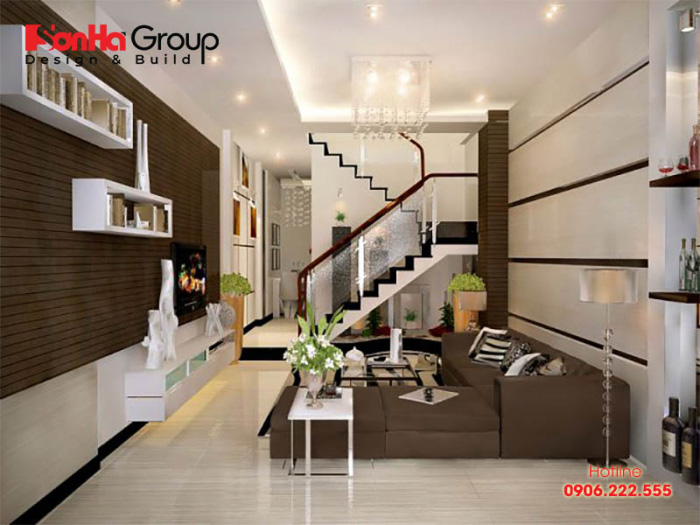 Thiết kế phòng khách đẹp có cầu thang cho nhà ống tiện nghi