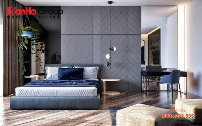 Trang trí nội thất phòng ngủ đơn giản với màu sắc hiện đại được bố trí gọn gàng, ngăn nắp