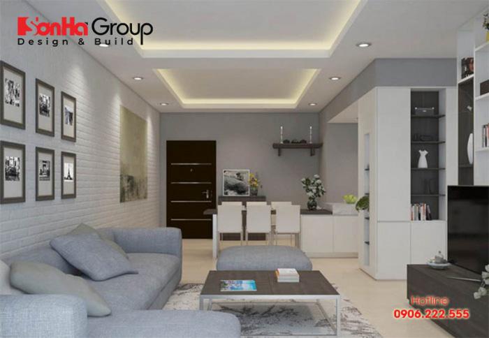 Trang trí theo chiều dọc cũng là phương án khả thi để ăn gian diện tích phòng khách