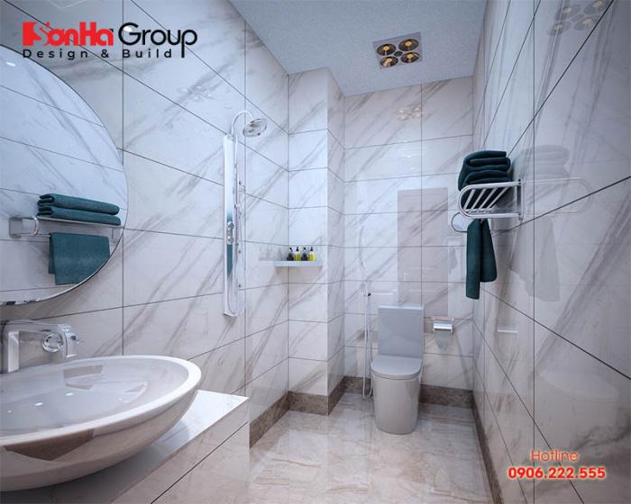 Với diện tích sử dụng 5m2, mẫu phòng tắm và vệ sinh khép kín trong phòng ngủ này được các Khách hàng rất ưa chuộng và quan tâm